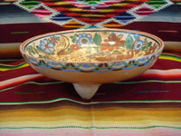 Mexican vintage pottery and ceramics, a tri-pod bowl with beautiful and very intricate artwork, signed by the famous artist, Antonio Rivera, Tonala or Tlaquepaque, Jalisco, c. 1930-40's. Main photo of the tripod bowl.