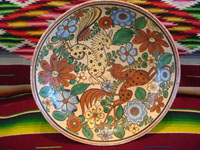 Mexican vintage pottery and ceramics, a tri-pod bowl with beautiful and very intricate artwork, signed by the famous artist, Antonio Rivera, Tonala or Tlaquepaque, Jalisco, c. 1930-40's. Photo shot from above the bowl looking down at the astounding artwork inside the bowl.