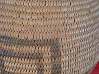 Native American Indian baskets, a wonderful Chemehuevi olla from the Needles, California/Parker, Arizona area, c. 1920. This is a large and very beautiful basket, with fine geometric designs. Closeup photo of a part of the Chemehuevi basket, showing the tightness of the weave.