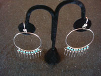 Native American Indian silver jewelry, a beautiful pair of Zuni silver hoop earrings with wonderful turquoise and graceful silver dangles, Zuni, c. 1950's. Another photo of the Zuni silver hoop earrings.