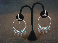 Native American Indian silver jewelry, a beautiful pair of Zuni silver hoop earrings with wonderful turquoise and graceful silver dangles, Zuni, c. 1950's. Main photo of the Zuni hoop earrings.