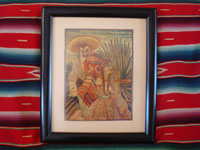 Mexican vintage straw-art (popote art or popotillo), a very lovely straw-art scene of a dashing charro and his lovely senorita, c. 1940's.  Main photo of the straw-art charro and his girlfriend.