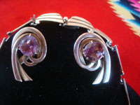 Mexican vintage sterling silver jewelry, and Taxco vintage silver jewelry, a beautiful sterling silver necklace and matching earrings set, with wonderful amethyst stones, Taxco, c. 1940's. Photo of the pair of matching earrings of the Taxco silver jewelry necklace and earrings set.