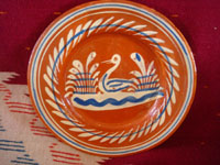 Mexican vintage pottery and ceramics, a very lovely set of three bandera-ware plates decorated with graceful birds, Tonala or San Pedro Tlaquepaque, c. 1940's. Closeup photo of the third plate.