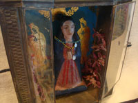 Mexican vintage devotional art, and Mexican vintage folk art, a lovely tinwork art and glass nicho with a wonderful carved wooden statue of Our Lady, the statue is c. 1930's. Main photo of the nicho and statue.