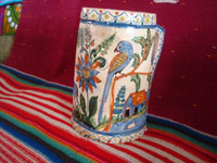 Mexican vintage pottery and ceramics, a beautiful pottery pitcher with fabulous artwork featuring graceful quetzales, birds, blue deer and ducks, surrounded by wonderful floral designs, Tonala or San Pedro Tlaquepaque, c. 1930's. A second side of the pitcher.