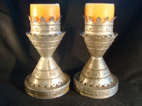 Mexican vintage tinwork art (or tin art), a pair of candle stick holders with wonderful stamping, c. 1940. These are elegant!  Another photo of pair.