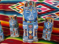 Mexican vintage pottery and ceramics, a pulque or punch set with pitcher and 5 mugs in the form of Aztec gods, c. 1940. Wonderful blue glaze with hand-painted faces and decorations on each piece.