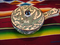 Mexican vintage pottery and ceramics, a fantasia-style lidded dish with fanciful dragon and fish, Tlaquepaque, Jalisco, c. 1930-40. Main photo.