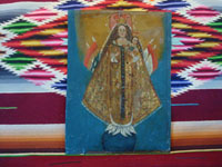 Peruvian antique devotional art and tinwork-art, a very lovely retablo of Our Lady of the Candle, one of the most famous and venerated images of Our Lady in Peru, c. 18th century. Main photo of front of the retablo.