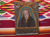 Peruvian antique devotional art and tinwork-art, a beautiful retablo painted on tin of Our Lady of the Cave, c. 19th century. This is a highly beautiful depiction of Our Lady. Main photo of the retablo of Our Lady of the Cave.