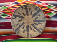 Native American Indian vintage basket, a Papago tray decorated with graceful Saguaro cacti, c. 1900. The weaving is very tight and fine, typical of earlier Papago basketry. Main photo of Papago Indian basket.