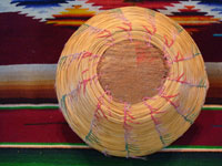 Native American Indian antique Indian baskets, a very rare and unique Seminole basket, c. 1920's. Photo showing the outside of the Seminole Indian basket.