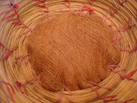 Native American Indian antique Indian baskets, a very rare and unique Seminole basket, c. 1920's. Closeup photo showing the wonderfully fine weave of the Seminole Indian basket.