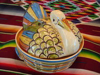 Mexican vintage pottery and ceramics, a lovely lidded casserole in the form of a wonderful turkey with very fine glazing and artwork, Tonala, Jalisco, c. 1930-40's. Main photo of the Tlaquepaque pottery turkey casserole.