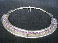 Mexican and Taxco vintage sterling silver jewelry, a beautiful Taxco silver necklace with cabochons of wonderful amethyst, c. 1930's. Main photo of the Taxco silver necklace.