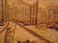 Mexican vintage straw art (popote art or popotillo), a beautiful, panoramic scene of a Mexican village, c. 1940's. Closeup photo of the woman and the trees lining the canal.
