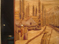 Mexican vintage straw art (popote art or popotillo), a beautiful, panoramic scene of a Mexican village, c. 1940's. Another closeup photo of the straw art scene.