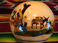 Mexican vintage pottery and ceramics, a beautifully decorated tecomate (round bowl with a small center opening), featuring wonderful and very well-painted scenes of Mexican village life, Tlaquepaque or Tonala, Jalisco, c. 1930's. Photo of the second side of the Tlaquepaque pottery tecomate.