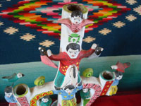 "Mexican vintaage folk art, and Mexican vintage pottery and ceramics, a lovely pottery ""tree-of-life"" with happy children and wonderful, colorful decorations, Acatlan, Puebla, attributed to the famous Heron Martinez, c. 1950's. Photo of the top part of the tree."