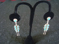 Native American Indian vintage silver jewelry, and Navajo silver jewelry, a lovely pair of dangling sterling silver earrings with turquoise, Arizona or New Mexico, c. 1950's. Main photo of the Navajo silver earrings.