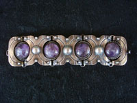 "Mexican vintage sterling silver jewelry, and Taxco vintage silver jewelry, a beautiful sterling silver bracelet with amethyst cabochons, marked ""980 MEXICO"", c. 1930-40's. Main photo of the Taxco silver jewelry bracelet with amethyst."