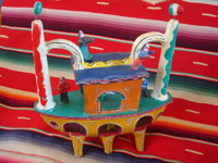 Mexican vintage folk art, and Mexican vintage pottery and ceramics, a wonderful pottery ship with happy sailors and very vibrant colors, attributed to the great Candelario Medrano or a member of his family, Santa Cruz de las Huertas, Jalisco, c. 1950's. Main photo of the Medrano pottery ship.