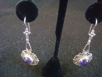 Mexican vintage sterling silver jewelry, and Taxco vintage sterling silver jewelry, a pair of dangling silver earrings with wonderful amethyst caboshons, Taxco, c. 1940's. Main photo of the Taxco silver jewelry earrings.