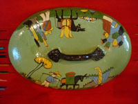 Vintage Mexican pottery and ceramics, a lovely lidded casserole with beautiful, hand-painted rural scenes on a pale green background, stamped on the bottom with the name of the famous pottery artist, Balbino Lucano, Tonala or Tlaquepaque, Jalisco, c. 1930-40's. Photo showing the decorations on the lid of the casserole.