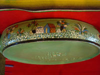 Vintage Mexican pottery and ceramics, a lovely lidded casserole with beautiful, hand-painted rural scenes on a pale green background, stamped on the bottom with the name of the famous pottery artist, Balbino Lucano, Tonala or Tlaquepaque, Jalisco, c. 1930-40's. Photo of one of the sides of the casserole.