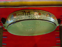 Vintage Mexican pottery and ceramics, a lovely lidded casserole with beautiful, hand-painted rural scenes on a pale green background, stamped on the bottom with the name of the famous pottery artist, Balbino Lucano, Tonala or Tlaquepaque, Jalisco, c. 1930-40's. Photo showing the other side of the casserole.