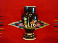 Mexican vintage pottery and ceramics, a beautiful blackware pottery vase with wonderful, hand-painted scenes of Mexican rural life, Tonala or Tlaquepaque, Jalisco, c. 1930. Main photo of the vase.