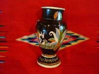 Mexican vintage pottery and ceramics, a beautiful blackware pottery vase with wonderful, hand-painted scenes of Mexican rural life, Tonala or Tlaquepaque, Jalisco, c. 1930. Photo showing another side of the vase.
