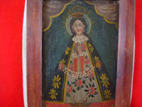 Mexican antique devotional art, and Mexican Colonial paintings and fine art, a beautiful painting of Our Lady of San Juan de los Lagos, c. 1800's.  A closer photo showing the front of the painting.