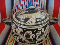 Mexican vintage pottery and ceramics, a lovely pottery lidded cassarole with fantasia-style artwork, Tonala or San Pedro Tlaquepaque, c. 1930's.  Main photo of the cassarole.