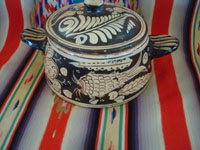 Mexican vintage pottery and ceramics, a lovely pottery lidded cassarole with fantasia-style artwork, Tonala or San Pedro Tlaquepaque, c. 1930's.  Another side view of the cassarole.