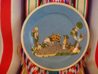 Mexican vintage pottery and ceramics, a lovely pottery plate with a soft-blue background and very fine artwork, attributed to the great Balbino Lucano, Tonala or San Pedro Tlaquepaque, Jalisco, c. 1930's. Main photo of the plate by Balbino Lucano.