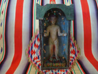 Mexican vintage devotional art, a wonderful statue of the Nino Perdido, a highly venerated image of the Christ Child, in a wonderful nicho which serves as the carrying case for the figure of the Nino, Mexico, c. 19th century. Main photo of the nicho.