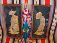 Mexican vintage straw-art (popote art or popotillo), a pair of straw-art scenes depicting a lovely China Poblana and her valiant Charro with his guitar, Mexico, c. 1930's.  Main photo of the straw art pieces.