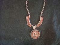 Native American Indian sterling silver jewelry, and Navajo and Zuni silver jewelry, a beautiful Zuni petite-point necklace with lovely coral and opal, Zuni Pueblo, New Mexico, c. 1950's.  Closer image of the Zuni silver and coral necklace.