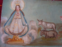 Mexican vintage devotional art, and Mexican vintage folk art, a wonderful exvoto painted on tin, c. 1930's. Closeup photo of the Virgin Mary.
