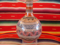 Mexican vintage pottery and ceramics, a burnished jar from Tonala, Jalisco, c. 1930. Signed, Augustin, wonderful Aztec geometric pattern. Main photo.