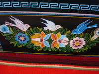 Mexican vintage wood carving, and Mexican vintage folk art, a laquered box from Olinala, Michoacan, with fantastic birds and foliage, c. 1950. Side view.