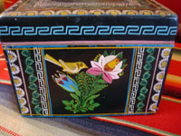 Mexican vintage wood carving, and Mexican vintage folk art, a laquered box from Olinala, Michoacan, with fantastic birds and foliage, c. 1950. A view of another side.