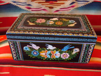Mexican vintage wood carving, and Mexican vintage folk art, a laquered box from Olinala, Michoacan, with fantastic birds and foliage, c. 1950. Main photo.