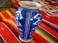 Mexican vintage pottery and ceramics, a lovely talavera vase from Puebla, c. 1930's. Wonderfully formed and painted, and fired multiple times, this is an outstanding piece of talavera. Second photo showing talavera vase.