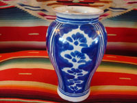 Mexican vintage pottery and ceramics, a lovely talavera vase from Puebla, c. 1930's. Wonderfully formed and painted, and fired multiple times, this is an outstanding piece of talavera. Main photo of talavera vase.