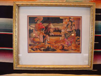 Mexican vintage straw-art, known in Mexico as popote art or popotillo, a wonderful rural scene composed of thousands of small pieces of dyed straw (popote, in Spanish), c. 1940's. Photo of the front of the popote (popotillo or straw-art) scene.