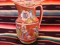 Mexican vintage pottery and ceramics, a wonderful pottery pulque pitcher from Tlaquepaque, Jalisco, c. 1930's. Main photo of the pitcher.