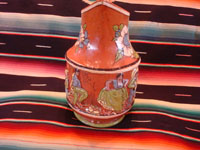Mexican vintage pottery and ceramics, a wonderful pottery pulque pitcher from Tlaquepaque, Jalisco, c. 1930's. Another side of the pitcher.
